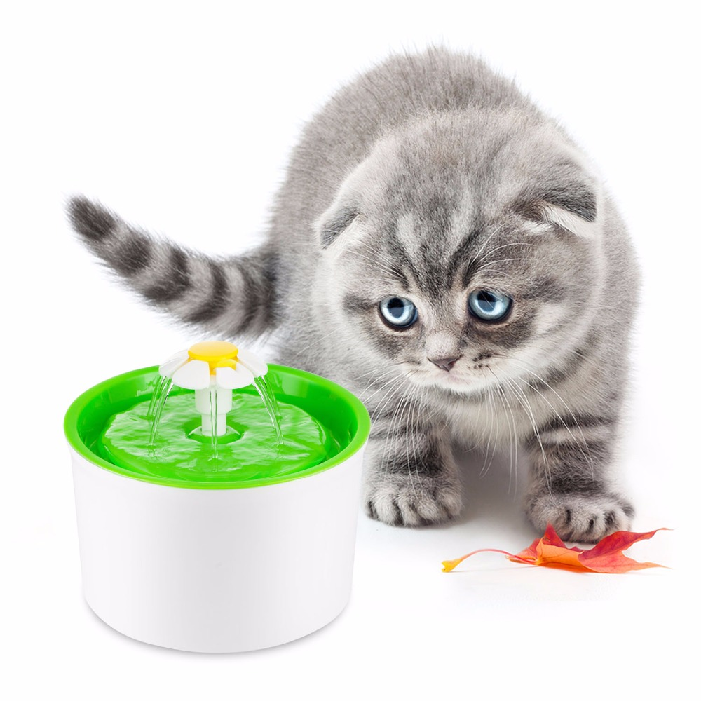 Green 1.6L Flower Style New Automatic Cat Dog Kitten Water Drinking Fountain Pet Bowl Drink Dish Filter<br>
