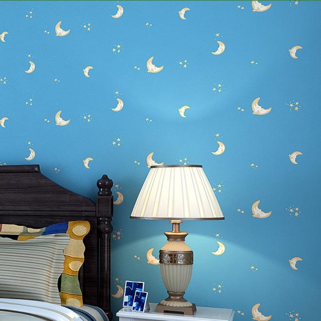 modern environmental wallpaper moon stars wallpaper for kids room<br>