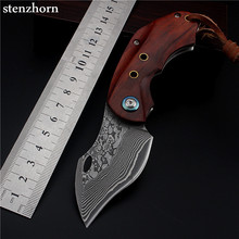 Stenzhorn 2017 New High Quality Outdoor Self-defense Damascus Folding Knife Mini Pocket Knives Practical And Beautiful Best Gift