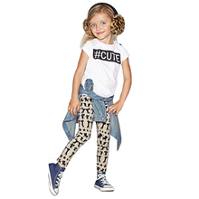 Summer Style Girl Kids Clothing Set 2017 Fashion CUTE Letter T-Shirt+Cat Pattern Pants Casual Set Childrens Clothing For Girl(China)