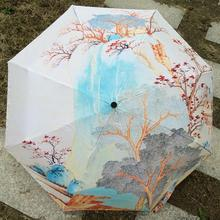 2016 New warm spring scenery Painting Arts Umbrella Rain women Creative Paraguas Anti-UV Fashion Parasol Kids