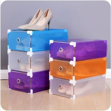 1PC Foldable Clear Plastic Shoe Box Drawer Stackable Storage Organiser Non-toxic High Quality Home Waterproof Organizer Box(China)