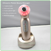2 Replace Heads 1mhz and 3Mhz Ultrasonic LED Phototherapy Facial Body Slimming Beauty Massager Wrinkle Removal Acne Treatment