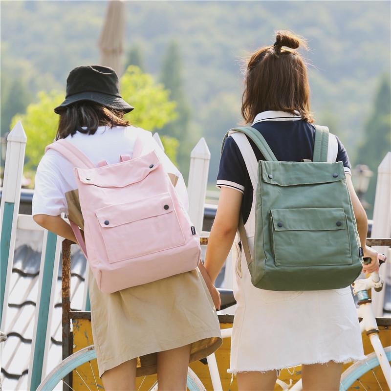 Menghuo Brand Female Women Canvas Backpack Preppy Style School Lady Girl Student School Laptop Bag Cotton Fabric bolsasOQRD6079