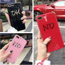 UVR Luxury Acrylic OK or no Case For iphone 6 6s 7 7 plus case phone cases back cover bag mobile phone case gift Dust plug capa