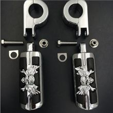 "1 1/4"" Highway Stiletto Skull Foot Pegs P-Clamps For Honda Yamaha Harley Sportster Touring Chopper Cafe racer ATV UTV Scooter"
