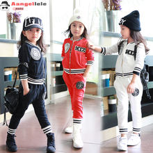 2016 New Spring Badge Labeling Baseball Zipper Shirt Jacket Sports Suit Two Piece & 2-9 Age Girl Clothes  baby girl suit