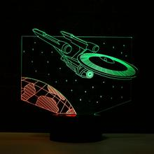 Star Trek Enterprise Ship 3D Light New Design Double 7 Colors Change 3D Lampara LED Christmas Kids Gifts(China)