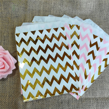 Party Favor Bag, Paper Favor Bags, Gold and Light Pink Chevron Paper Favor Bags, Glam 1st Birthday Party, Baby Shower