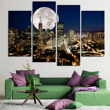Fashion HD Printed Large Canvas painting 4 Panels Home Decor Wall Art Picture Prints of New York city night view Artwork NO Fram