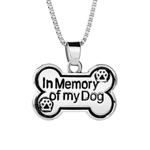 Dog Tag Necklace In Memory Of My Dog Necklaces Pendants Bones Shape Dog Paw Print Supply Long Necklace women Box Chain Footprint(China)