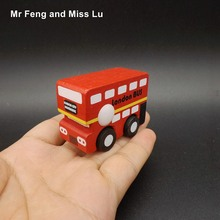 Small Wooden Bus Mini Vehicle Model Baby Toy Gift(China)