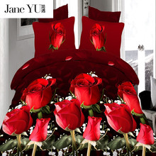 JaneYU 4Pcs king size Luxury 3D Rose Bedding setS Red color Bedclothes Comforter Cover Set Bed sheet Pillowcase for wedding(China)