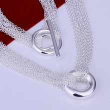 XLN003 Wholesale free shipping silver plated Necklace, Factory price 925 stamped fashion jewelry  Mesh Shape O charms Necklaces