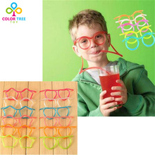 3PC/SET Kids Creative Toys Cute Cartoon Crazy DIY Straw Funny Gadgets Novelty & Gag Toys Glasses Suckers Gifts For Children(China)