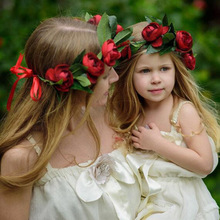 Mom and Me Flower Wreath Matching Rose Floral Crownw Headbands Kids Headband Hair Bands Photography props Hair Accessories