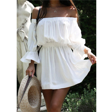 Buy Ebay2017 European Summer Women Clothing Sexy Beach Dresses White One Word Collar A-line Dress Female Shoulder Dress for $7.79 in AliExpress store