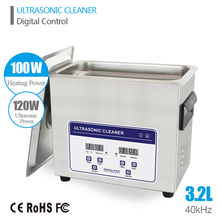 Ultrasound Cleaner Cleaning 3.2L Tank Baskets Dental 120W 40kHz Digital Heated Industrial Ultrasonic Cleaner Ultrasonic Bath
