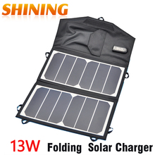 Sunpower 13W Folding Solar Panel Portable 23%High Efficiency Outdoor Solar Charger Pack Solar Panel Charger For IPhone 5V Device(China)