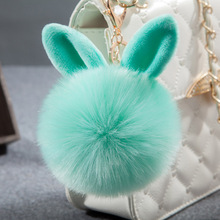Bunny Key Chains Pom Pom KeyChain Artificial Rabbit Fur Ball Key Rings Porte Clef Pompom Car pendant Pompon Bag Charms Jewelry(China)