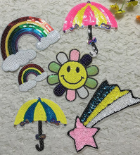 6pcs Umbrella Sun Rainbow Sequined Patches Embroidery Patch For Clothing Blouse Dress Jeans Appliques Badge parches para la ropa