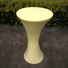 Free Shipping 10pcs Beige Round Based Elastic Spandex Cocktail Table Cloths Lycra Stretch Bar Bistro Table Covers For Wedding(China)