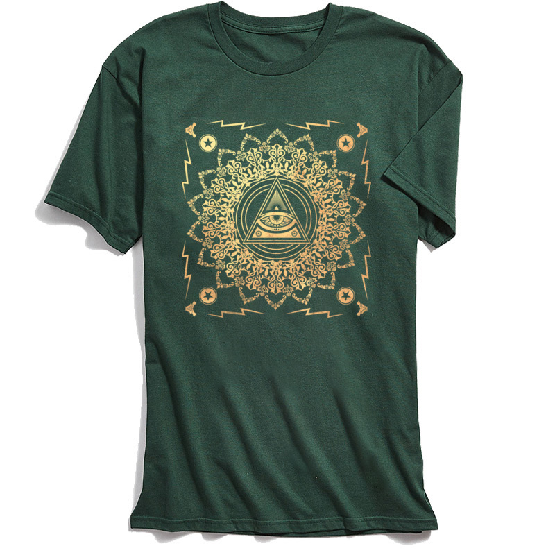 New Arrival Men T Shirts Illuminati Classic T Shirt All Cotton Short Sleeve Casual Tops & Tees O-Neck Top Quality Illuminati dark
