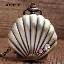 Vintage Bronze conch shell Case Quartz Pocket watch Crystal with necklace Chain woman full-hunter Watches Gift Relogio De Bolso