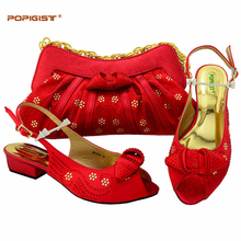 Mylady Red Italian Shoes with Matching Bags for Women Nigerian Shoe and Bag Set for Wedding African Shoe and Bag Set for Party(China)
