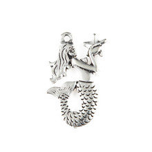 30pcs 23x31mm New Silver Plated Alloy Mermaid Pendant Charms For Making Jewelry Handmade DIY Accessories