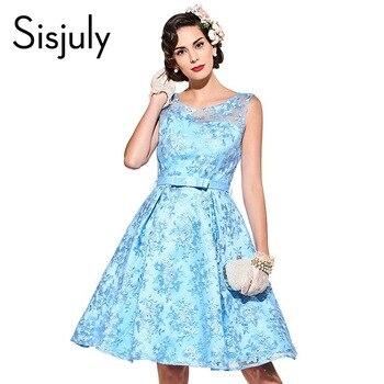 Sisjuly vintage dress azul sólido 1950 s estilo de una línea de partido de las mujeres vestidos de encaje del arco del o-cuello elegante verano mujer vintage dress