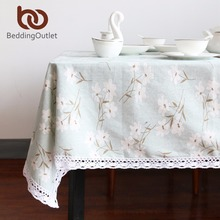 BeddingOutlet Flower Tablecloth Cotton And Linen Dinner Table Cloth Macrame Decoration Lacy Table Cover Elegant Pastoral(China)