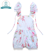 2017 Fashion Ruffles Vintage Floral Print Baby Girl Jumpsuit Casual Toddler Girls Overalls Romper Children Clothing 1-6Yrs(China)