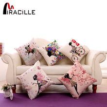 "Square 18"" Cotton Linen Decorative Cushions Flower Fairy Bike Butterfly Throw Pillows Sofa Home Decor No Inner(China)"