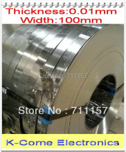 0.01mm Thickness 100mm Width 5M/lot Stainless Steel Sheet Plate Leaf Spring Stainless Steel Foil The Thin Tape Free Shipping