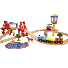 75pcs per set high quality birthday gift fashion Toams and Friends wooden railway train track slot toys for kids