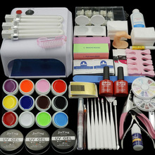36W Lamp (Optional) 12 Color UV GEL + clear Nail brushes False Finger Cutter clearnser plus Nail Art Tool Kit Sets