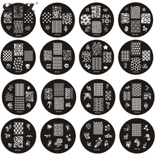 STZ 1PCS New 25 Design DIY Image Round Stamping for Nails Polish Palette Nail Art Stamp Templates Plates Tools STZ31-55