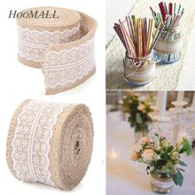 1Roll(1M/2M) Natural Jute Burlap Hessian Ribbon With Lace Trims Tape Rustic Party Wedding Christmas Decoration 5.7cm Wide(China)