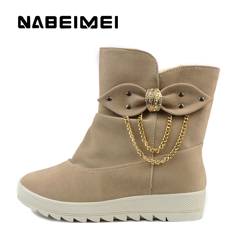 Women snow boots shoes butterfly-knot metal decoration winter shoes high heels wedges slip-on short plush cheap shoes(China (Mainland))