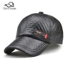 Winter Caps Adult Men New Style Baseball Cap Outdoor Casual Old Man Hat Adjustable Visor Male Bone Leather Dad Hats(China)