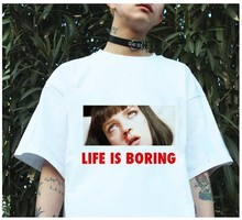 Spoof Life Is Boring Cute Japanese Fashion Korean Rock Fashion Punk Ulzzang Summer T Shirts Women Plus Size Cotton Korean Style(China)