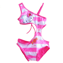 New 2017 Summer Girls Swimsuit One-Piece Children Girls Hello Kitty Swimwear Rose Beach Wear For Girls SW014-CGR1