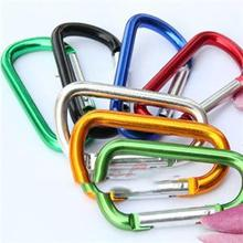 Color Random!!! 5pcs Outdoor Sports Aluminium Alloy Safety Buckle Keychain Climbing Button Carabiner Camping Hiking Hook