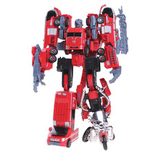 Kid Funny 5 in 1 Big Size Toy Deformation Robot Car Defensor Action Figure Fire Engineering Combiner Truck Motorcycle Gift(China)