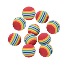 10Pcs/lot Foam Sponge Golf Tennis Ball Rainbow Stripe Swing Practice Training Golf Ball 38mm Hot Sale(China)