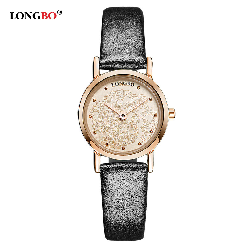 2017 LONGBO Brand Watch Women Gold Case Genuine Leather Band Round Analog 30m Waterproof Quartz Wrist Watch montre femme 80026<br><br>Aliexpress