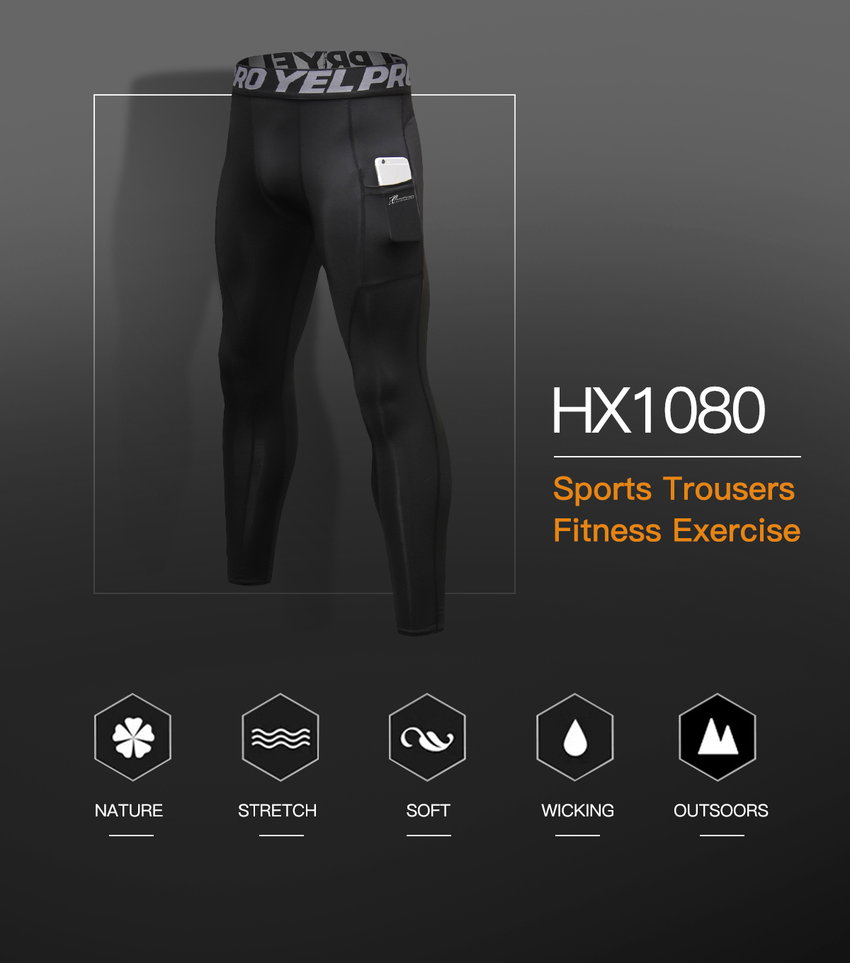 Men/'s Compression Pants Workout Leggings Gym Basketball Hiking with Side Pocket
