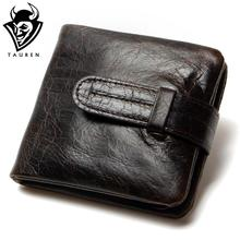 Luxury Vintage Casual 100% Real Genuine Cowhide Oil Wax Leather Men Short Bifold Wallet Wallets Purse Coin Pocket Male Zipper(China)
