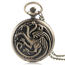 Retro Game of Thrones House Targaryen Quartz Pocket Watch Dragon Fire and Blood Man Women Necklace Pendant Clock Montre Femme(China)